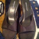 White Stag - Women's Black Satin Upper Mule Open Toe Slides Heels Sz. 5.5M