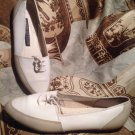 ESPIRIT DE CORP TAUPE/WHITE CASUAL SHOES LEATHER FLAT MOCCASINS W/TAPS SZ 7M