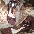 Women's GIANNI BINI TRIBUTE BROWN LEATHER STRAPPY ANKLE STRAP SANDALS - SZ 9M