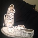 Women's RED MARC ECKO CHALSIE WHITE BL/ SILVER LOW 8.5M CANVAS LACE UP SNEAKERS