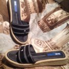 ~EUC~KEDS WOMEN'S BLACK CANVAS THONG SLIDES FLATS SANDALS SHOES SIZE 7.5M