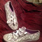 KEDS ANIMAL PRINT DAHLIA SILVER/WHITE LACE SEQUINS SNEAKERS SHOES WOMEN'S 5.5M