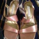 Elegant Vintage Womens NINA GOLD Slingback Heel Shoes Sz 9M Leather Sole RET $69