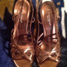 PIERRE DUMAS WOMEN'S BRONZE BROWN SLINGBACK STRAPPY SANDALS HEELS SHOES SZ 7M