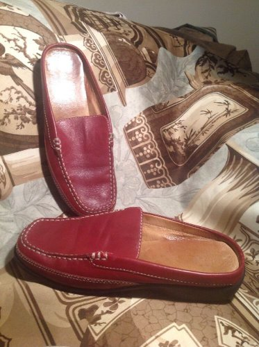 BASS TAB III MOCCASINS WOMEN'S MULES SIZE 6.5M RED LEATHER LOAFERS SLIP ONS