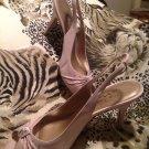 Marylyn WOMEN'S SATIN 8.5M Strap Heels BEIGE W/ RHINESTONES By The Touch Of Nina