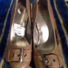 Women's Guess TAUPE With Silver Buckle Toe High Heel Pumps Sz 6M MRSP $95