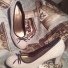 PREDICTIONS BEIGE CREAM W/ BROWN BOW Canvas Fabric Pump Heels WOMEN'S SIZE 7.5M