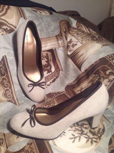 PREDICTIONS BEIGE CREAM W/ BROWN BOW Canvas Fabric Pump Heels WOMEN'S SIZE 7.5M