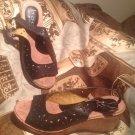 B.O.C. BORN CONCEPT SIZE 7M KACEE Cutout Wedge Slingback Sandals BLACK MRSP $80