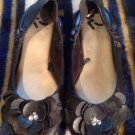 Report Ballet Flats Women's 8.5M Black Flower With Rhinestones Dachsund MRSP $70