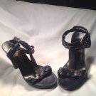 JUICY COUTURE WOMEN'S BRAIDED DOUBLE ANKLE T STRAP BLACK LEATHER SANDALS SZ 8.5M