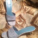 MADELINE BATTEN LADIES SIZE 9M BLUE/WHITE SHOE SANDAL OPEN TOE SLIP ON MULE