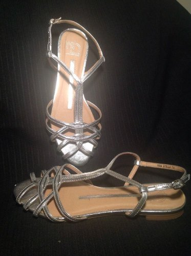 NEW DIRECTIONS STELLA 7.5M METALLIC SILVER ANKLE STRAP SANDALS SHOES