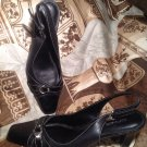 NICKELS SOFT GRANA BLACK WOMEN'S 6.5M LEATHER SLINGBACK SHOES PUMPS MRSP $88