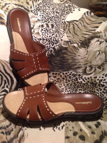 Croft & Barrow Shoes-Sandals BROWN Open Toe Cushioned Footbed Sz 6M Women's