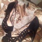 NINE WEST Shoes 7.5M Women's SPEED UP BLACK SUEDE OPEN TOE PUMPS HEELS MRSP $130