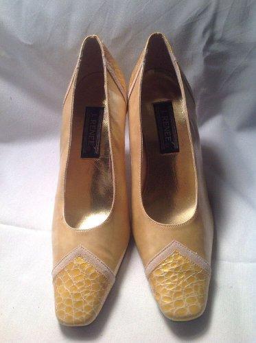 J Renee Womens Marbled Pumps Heels Sz 7.5M Gold Tan Embossed Heel & Toe MRSP $78