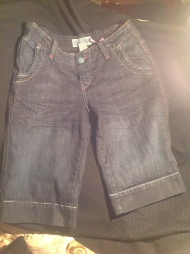 NEW 7 SEVEN FOR ALL MANKIND BUTTON POCKET JEANS SHORTS SIZE 29 DARK DENIM