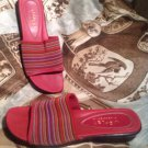 LIZ CLAIBORNE FLEX SANDALS WOMEN'S - KAYLE 2- RED WITH MULTI COLORED PINSTRIPES