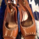 Nicole Brown Faux Leather Peep Toe STITCHING SlingBacks Women's Sz 7.5M MRSP $78