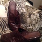 Women's Shoes NUTURE JASPER SZ 7.5M BROWN EMBOSSED Leather Wedge Heel MULES
