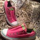 Converse All Star Low Top Canvas PINK & GREEN Youth Sneakers SZ 3M NO LACES