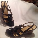 LIFESTRIDE WOMENS BLACK PATENT LEATHER SLINGBACK SANDALS CORK HEELS SZ 7.5M CUTE