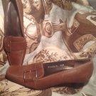 STUART WEITZMAN WOMEN'S SHOES 5.5M LOAFER SLIP ON KITTEN HEEL SIDE BUCKLE BROWN