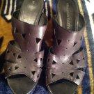Franco Sarto Womens Black Leather Mules Slip On Sandals Heels SZ 10 M CLASSY!