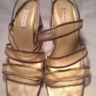 Ann Marino Gold Leather Strappy Chunky Wedge Heel Open toe Sandals Shoes SZ 11M