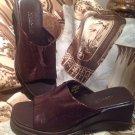 Women's BROWN Leather Villager Liz Claiborne Slip on Slides Sandals SZ 7M SHOES