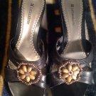 NATURALIZER Womens Beaded Black Leather  Platform Wedge Slides Sandal Shoe 8.5