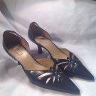 UNISA Womens Blue Leather Stitch Cut Out Point Toe Heels Pumps Shoes Sz 9.5B