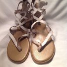 Super Cute Flat Xhilaration Womens 10M White Leather Roman Thong Sandals