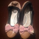 DBDk Suki Crunch Bow Ballerina Taupe Flat Leather Shoes, Black Size 8M MRSP $69