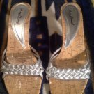 Womens Anne Michelle Dazzle Silver Metallic Braided Heels - Sz 6.5M Shoes Shiny