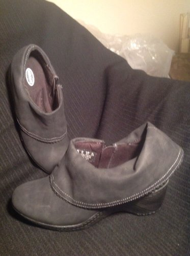 DR SCHOLLS TUSCANY ANKLE BOOTS GRAY CUFF ZIPPERED SIDE ADVANCED COMFORT 6.5M