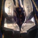 REFLECTIONS  By Saugus Shoe Black Satin Silk Sz 6.5 M Heel Shoes Thong Sandal