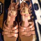 """EUC VILLAGER LIZ CLAIBORNE """"City"""" Brown Leather Open Toe Heels Women's Sz 7.5"""