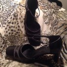 Gianni Bini PHOENIX Leather Closed SQUARE Toe Strap Heels BLACK Women's SZ 8.5M