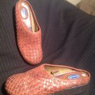 DR. SCHOLL'S WEAVE CLOGS MULES SLIP ON BROWN LEATHER DOUBLE AIR PILLO SIZE 6.5M