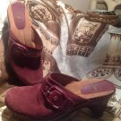 NUTURE BURGANDY SUEDE LEATHER WEDGE CLOG SHOES SZ 9.5M Women's Mules Slip On