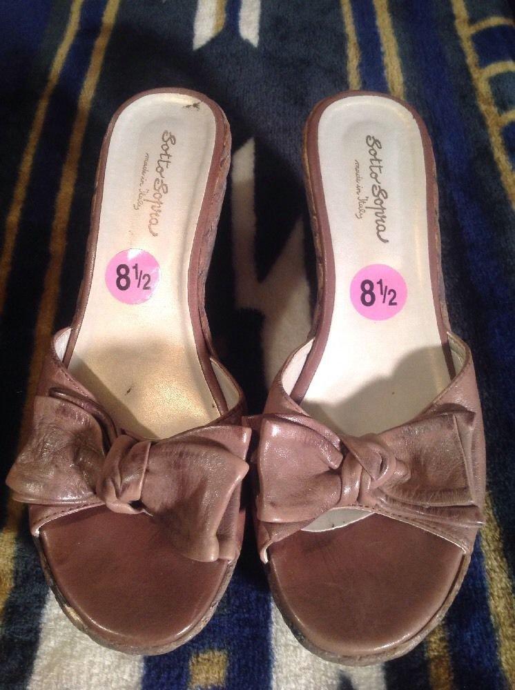 Sotto Sopra Wedge Sandals Women S Slide Brown Leather Cork
