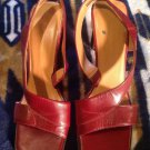 Worthington Burgandy Leather Open Toe Sling-Backs Women Sz 8.5M Leather *Nice*
