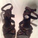Banana Republic Women's Brown Leather Ankle Straps Pumps Platform Heels Sz 9.5M