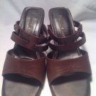 Mountain Lake Rene Ladies Brown Leather Shoes Sz 8M Sandals Mules Heels Slip Ons