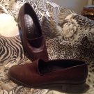 Nine West Ladies Dark Brown Leather Loafers SZ 7.5M Darwin Slip On Loafer Shoes