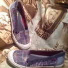 Keds Canvas Slip On Style Athletic Shoes Women's Sz 6M Plaid W/Flowers SNEAKERS