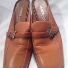 What's What by Aerosoles Women's Caramel Mules Heels Strap & Buckle Sz 7.5M NICE